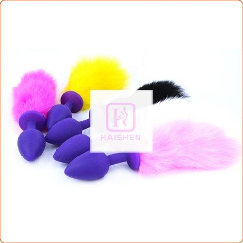 Bunny Tail Silicone Butt Plug Pet Play Tail - Purple