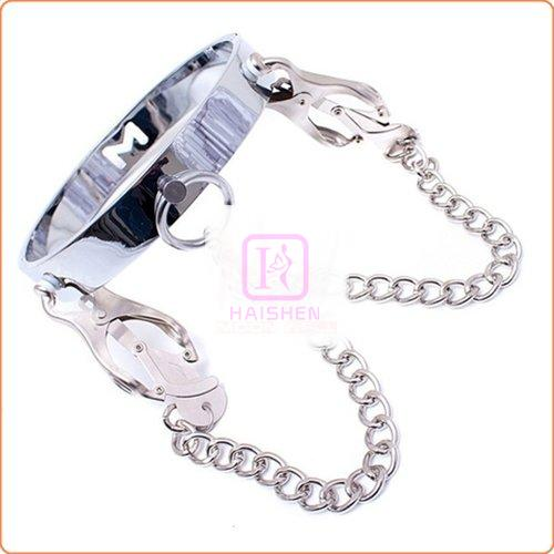 Chrome M Slave Collar With Japanese Clover Clamps