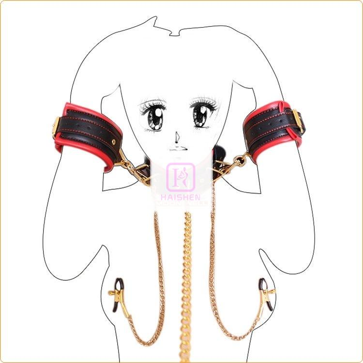 Collar And Handcuffs With Nipple Clamp Body Restraint