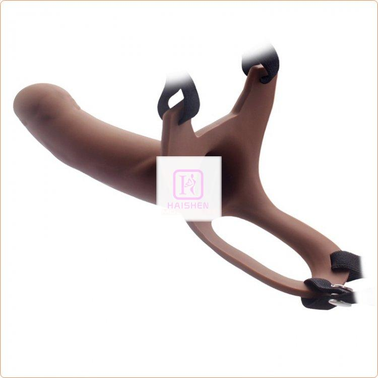 Hollow Strap-on Silicone Curved Dong