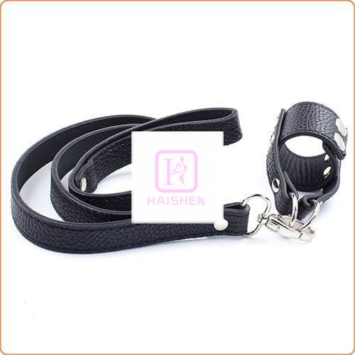 Lichee Pattern Leather Cock Ring Penis Leash
