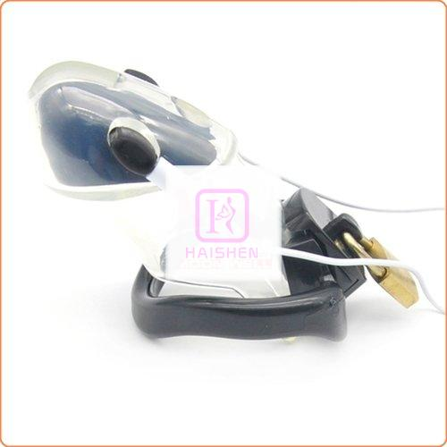 Male Polycarbonate Electro Chastity Cage - Clear