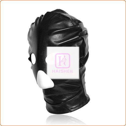 Patent Leather Hood with Open Mouth and Eyes