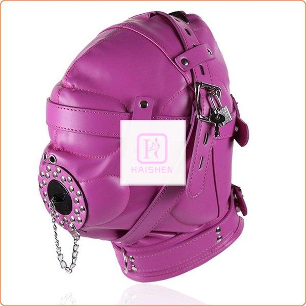 Sensory Deprivation Hood with Open Mouth Gag - Rose
