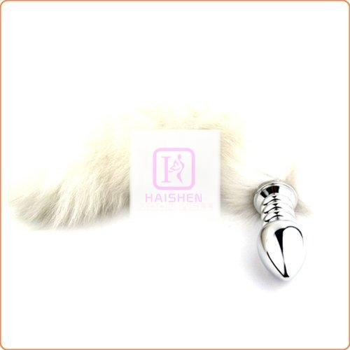 White Arctic Fox TailScrew Stainless Steel Attractive Butt Plug