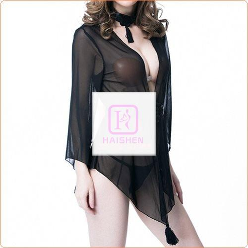 3pcs Adult Mesh Robe With Panty And Neck Ring