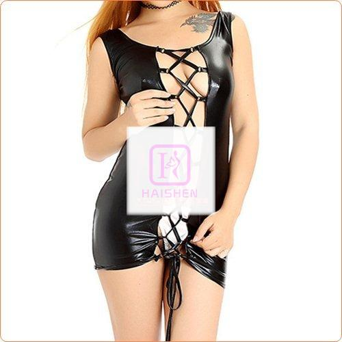 Adult Leather Lace-up Couples Flirting Skirt