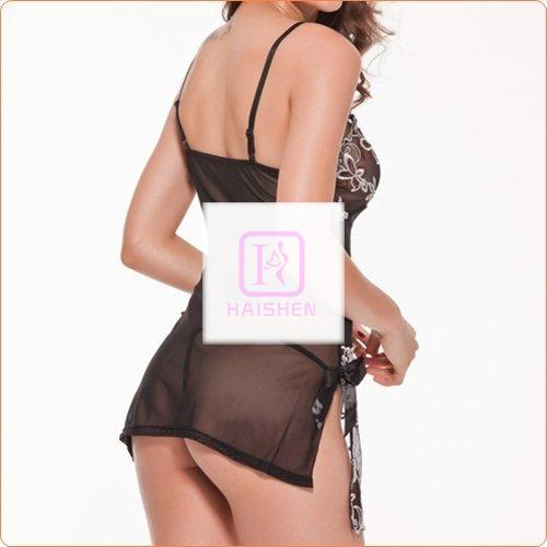 Adult See-through Embroidered Mesh Night Dress