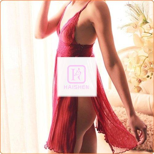 Attractive Lace Up Both Sides Split Hot Night Dress + Panty