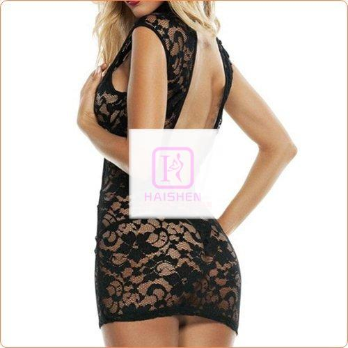 Black See-through Hollowed-out Backless Dress Underwear