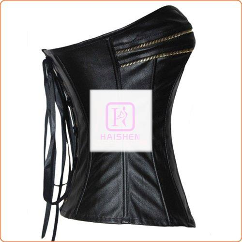 Classic Leather Gold Zipper Overbust Tights Corset