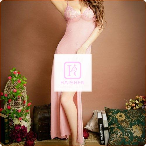 Different Colors See-through Mesh Nightwear Long Dress