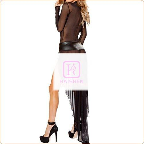 Fashion Long-sleeved Mesh Show Dress With Thong