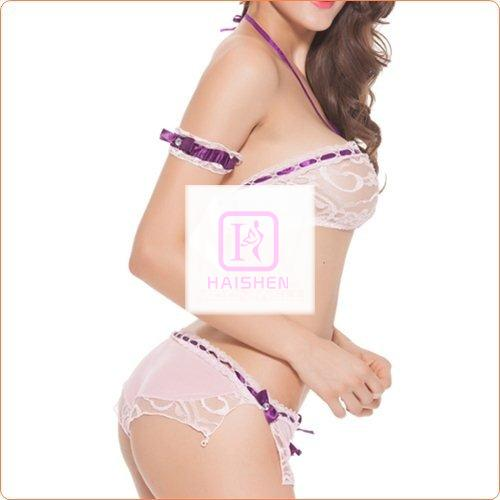 New Arrival Transparent Lace Trim Slitting Bra And Briefs