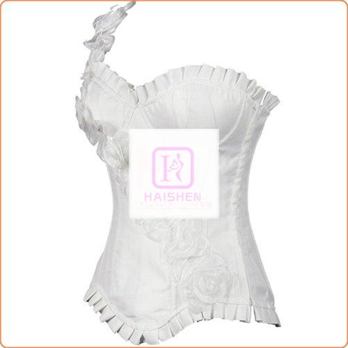 One-shoulder Rose Decorated Sexy Corset With Panty