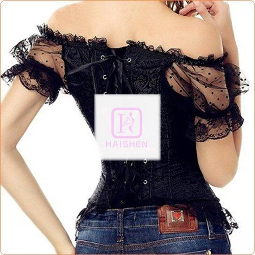 Royal Mesh Decorated Off Shoulder Corset Bustiers
