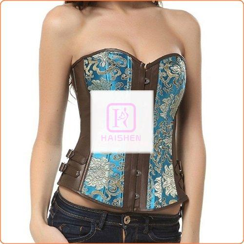 Sexy Embroidered Leather Splicing Corset