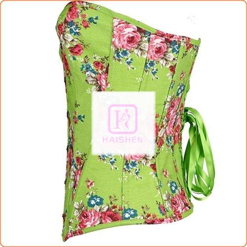 Sexy Flower Printed Pastoral Corset With Thong