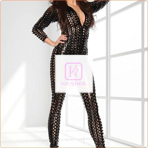 Slim Patent Leather Hollowed-out Dancing One-piece Suit