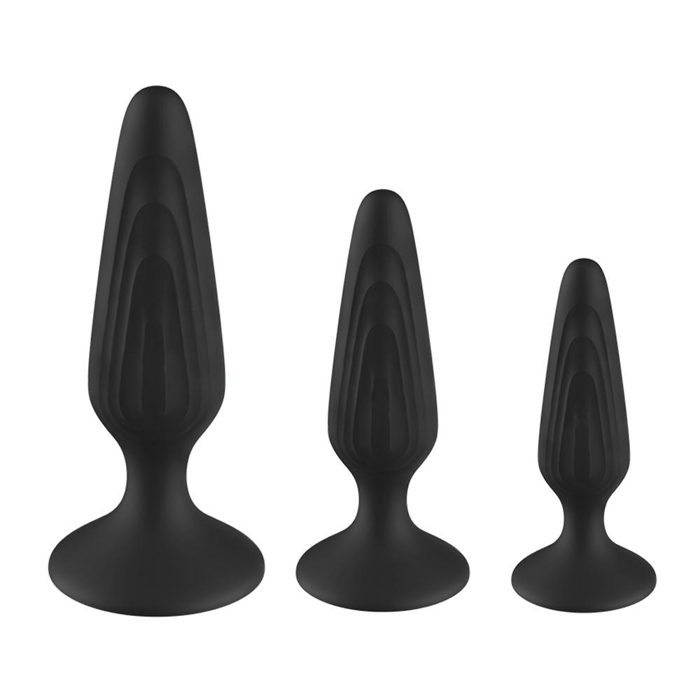 Different Sizes Waterproof Non-Vibration Sucker 3 Pieces Butt Silicone Anal Plug Set