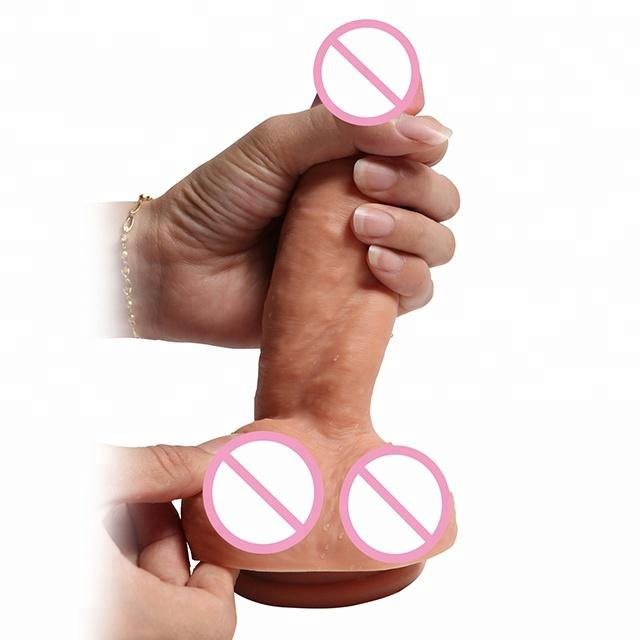 8 inch Realistic Liquid Double Layer Silicone Dildo with Strong Suction Cup Lifelike penis