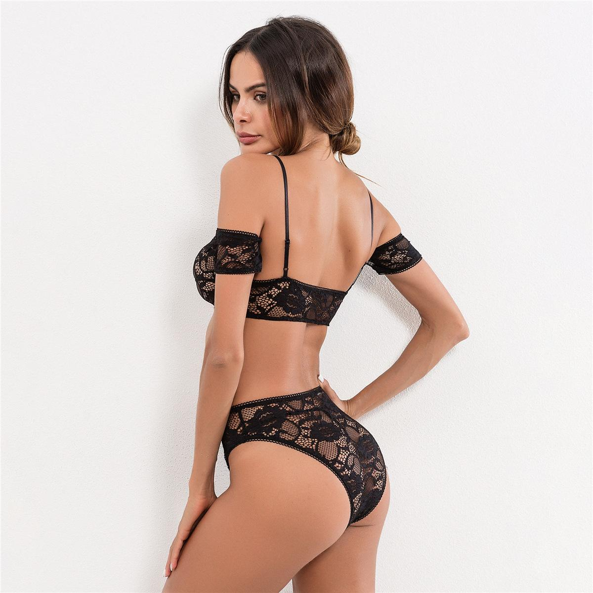 Real Shot Model European And American Black Lace Strapless Strapless Sexy Underwear Su