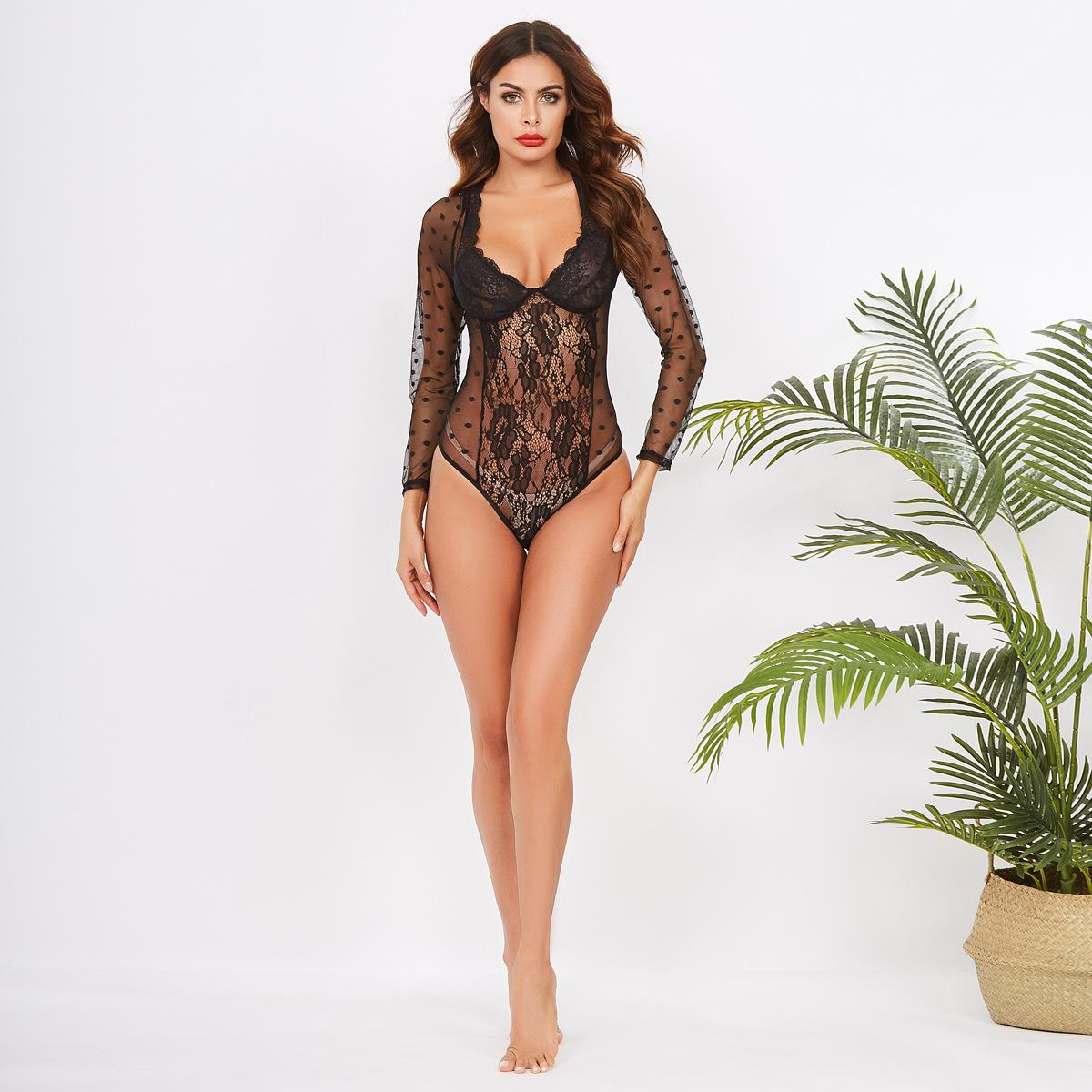 Autumn 2020 New Sexy Polka Dot Lace Eyelashes Sexy Lingerie Female Long-Sleeve One-Piece Beauty Sexy