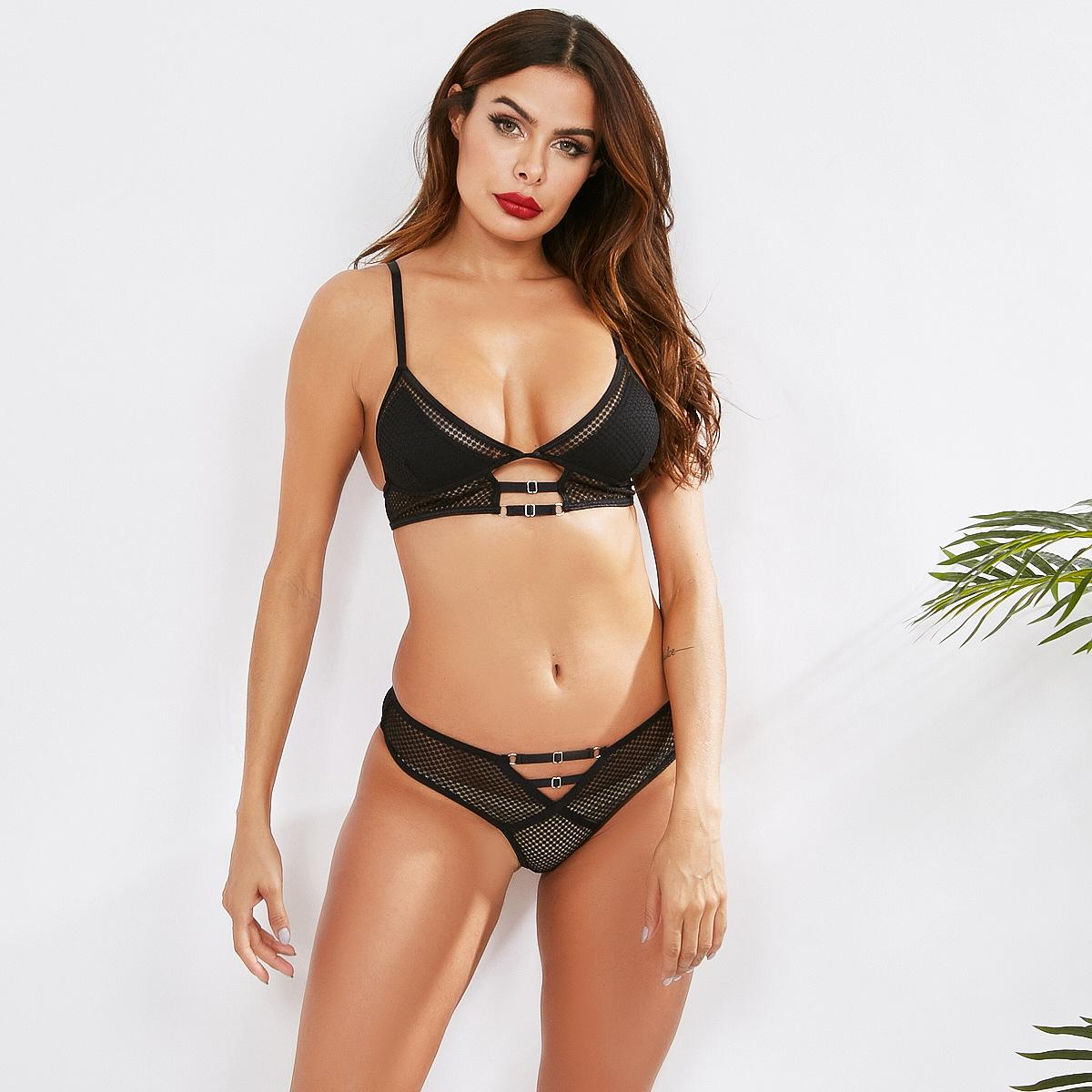 European And American Women Sexy And Comfortable Black Lace Sling Mesh Sexy Backless U