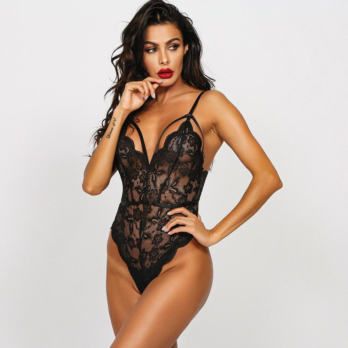 European And American Hot Model Sexy Perspective Sexy Body Shaping Sexy Black One-Piece U