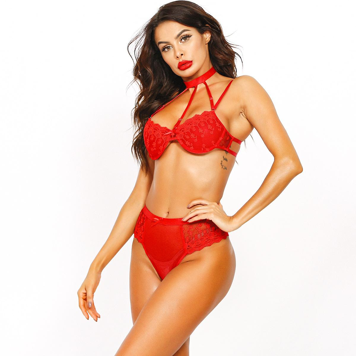 Hot Sale European And American Halter Red Lace Crochet Flowers Hot Sale Sexy Transparent