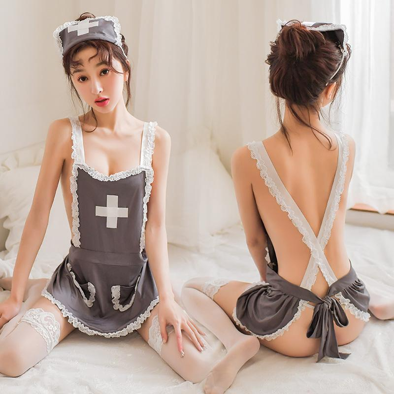 Sexy Lace Gray Nurse Apron, This Is A Seductive Sexy Uniform That Can Attract Audiences At Cosplay
