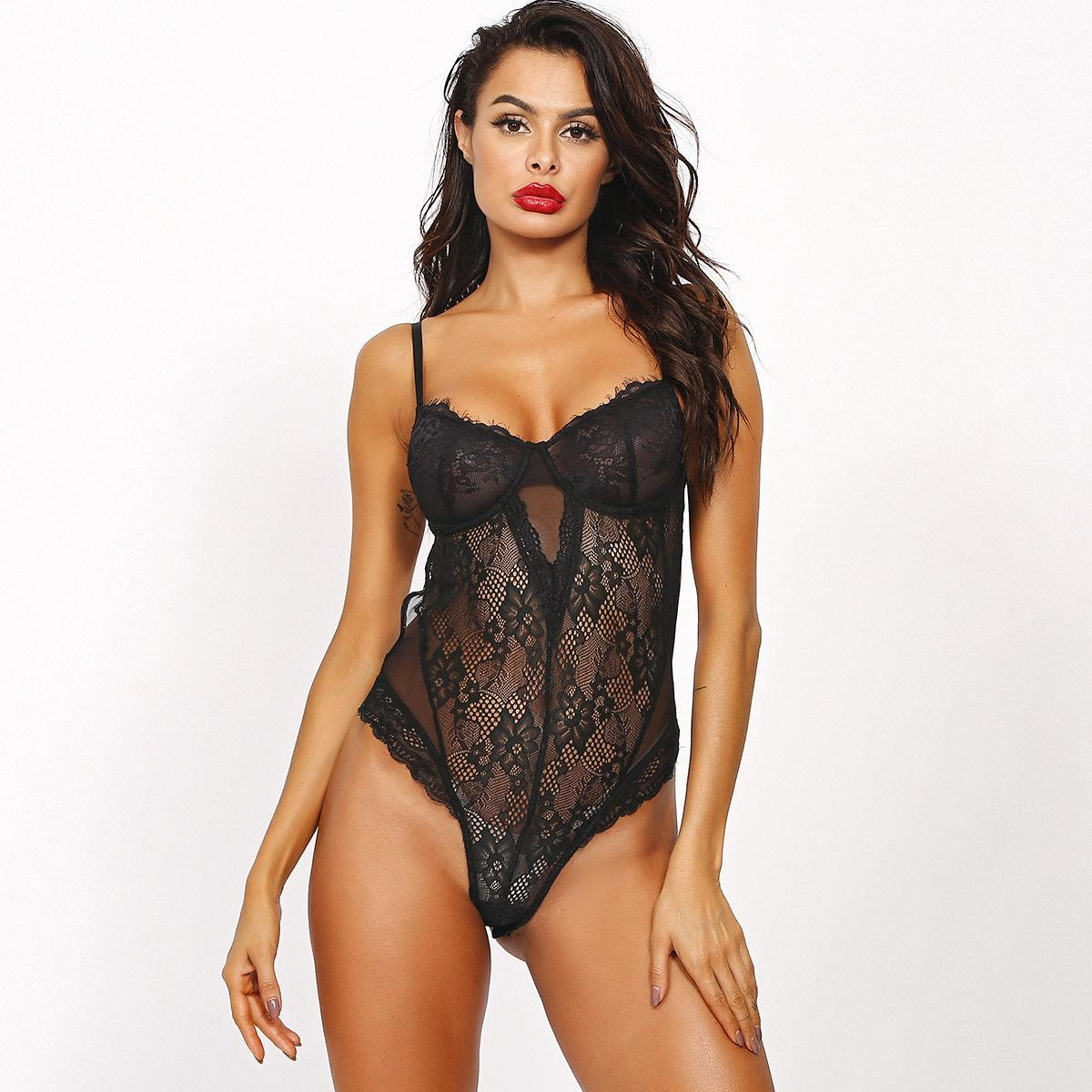 European And American Style Sexy Base Lingerie Lace Eyelashes Black Lace Sexy Nightclub Sexy