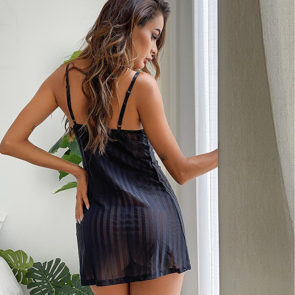 European Style Hot Sale Black Lace Striped Perspective Sexy Sl