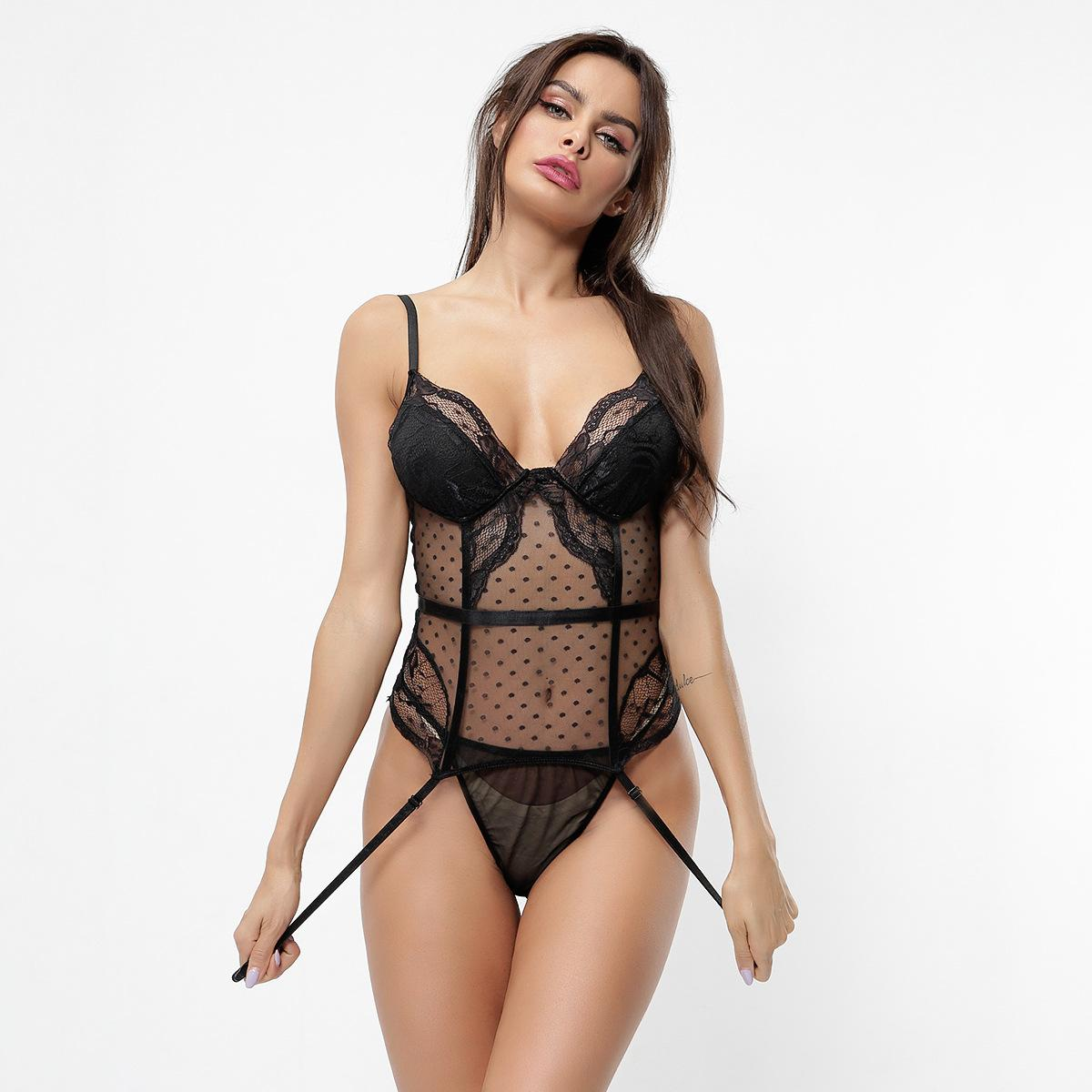 Export Wholesale Sexy Lingerie Model Lace Stitching Polka Dot Mesh Sexy Highlight Sexy