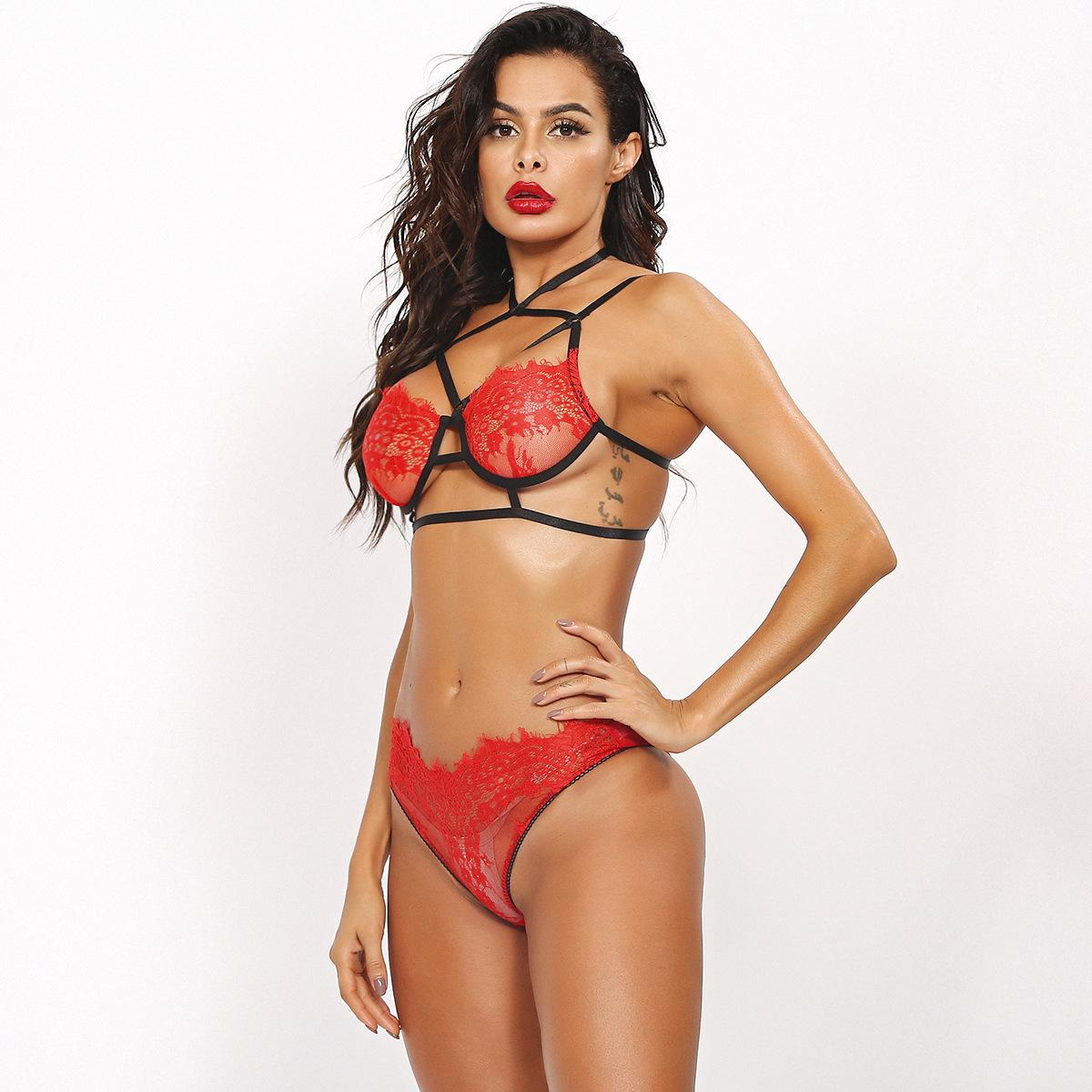 Intricate Crafts Cross Perspective Red Lace Ladies Underwear Sexy Clothing Sexy U