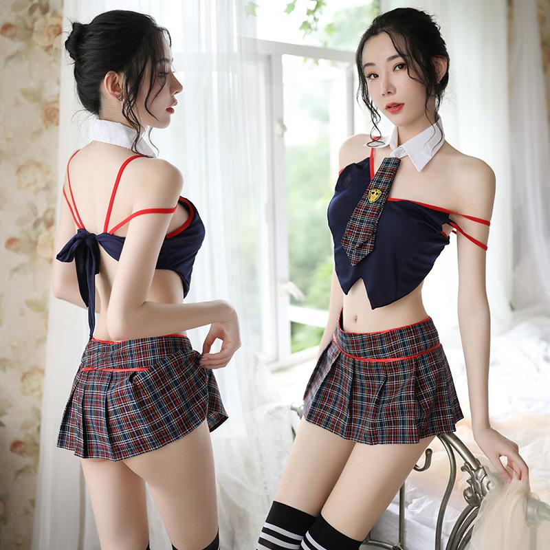 Cute And Pure Student Interest Perspective Attractive Black And Red Plaid Student Sexy Suit Cosplay U