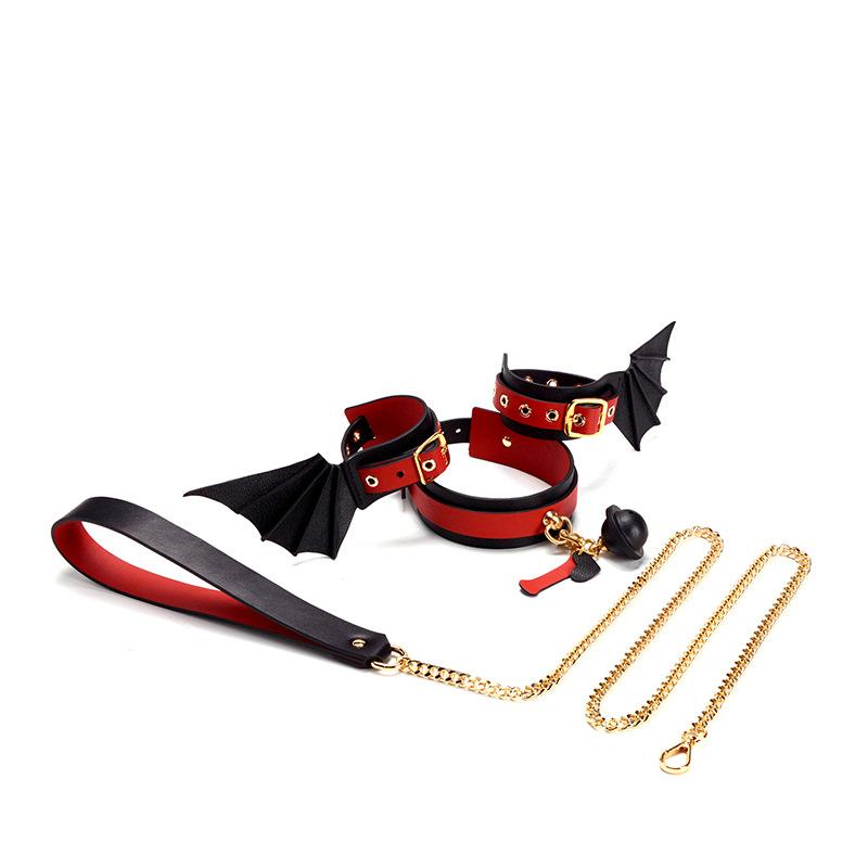 Real Leather Sexy Unique Shape Handcuffs Collar Binding Bon