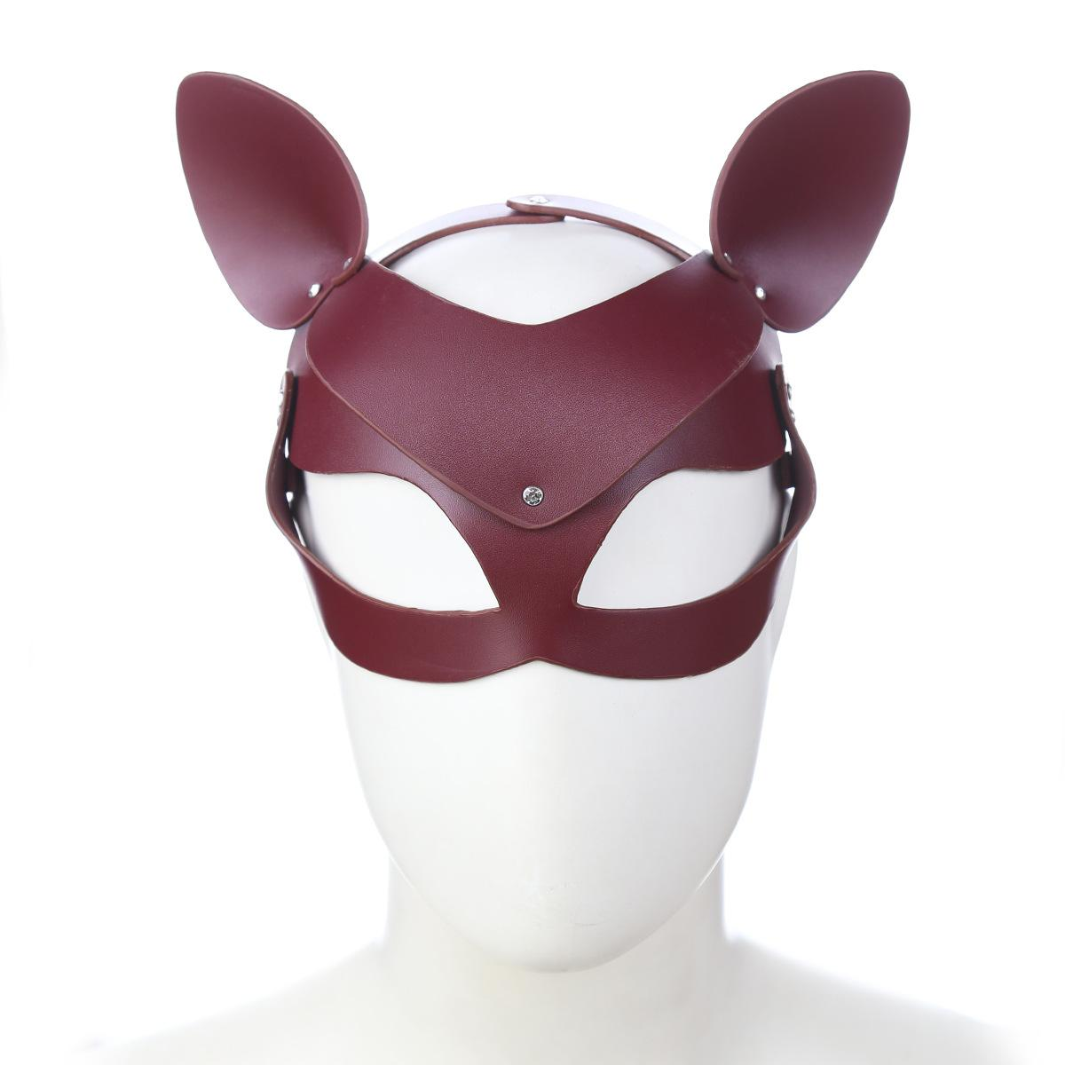 Real Leather Fox Cat with Ears Eye Mask Stage Dress up Cosplay Fun Adult