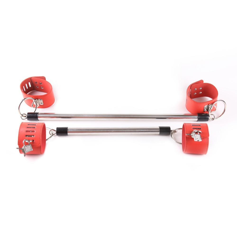 Adult Articles Passion Spreader Bar Handcuffs Anklecuffs Set with Locking Steel Tube Adjustment