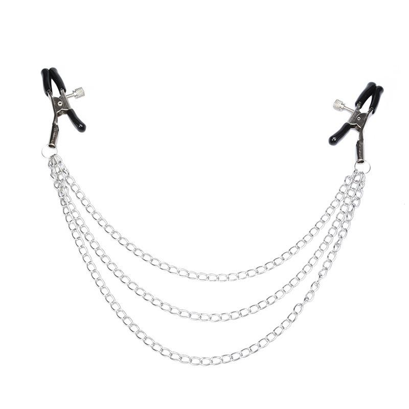 Low Price Metal Nipple Clamps with Rubber 3 Chain for Female Brea