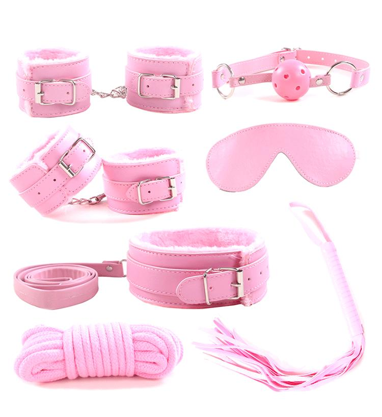 7PCS Sex Sets Games Toys Handcuffs Collar Eye Masks Whips with Leath