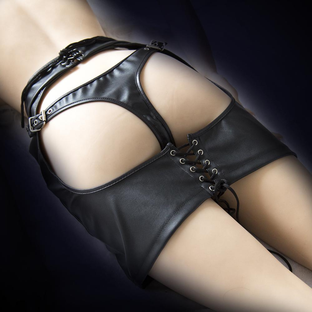 Sexy Lingerie Leather Skirt Large Size Open Hip Crotch Shorts Leather Pants Chastity Belt fo