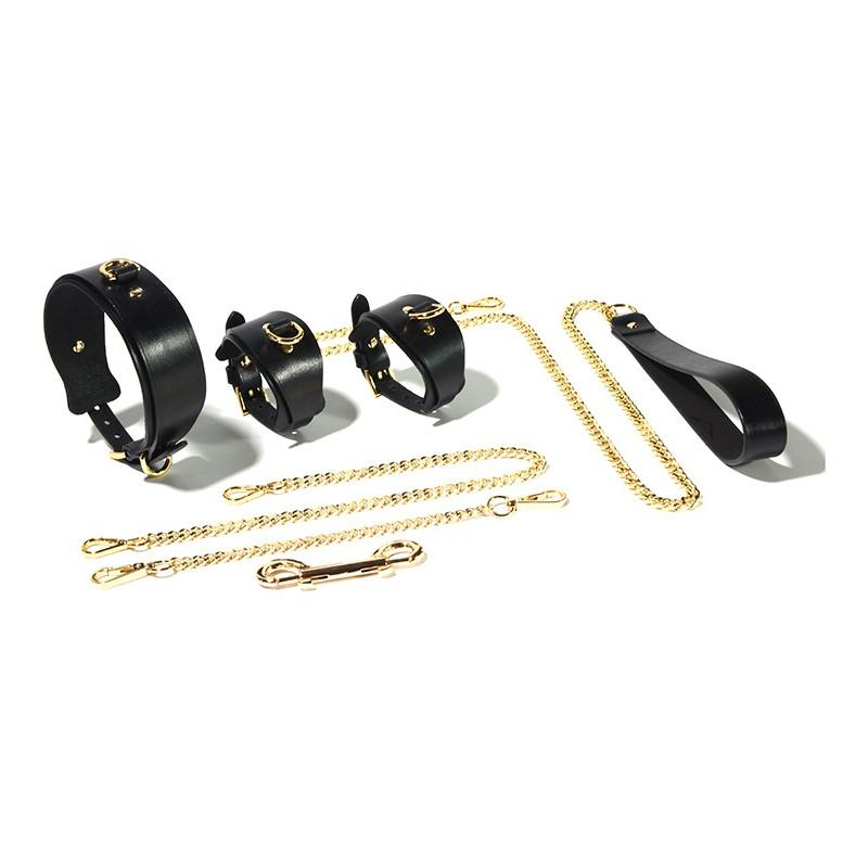 Real Leather Sexy Handcuffs Collar with Gold Metal Pulling Chain Bon