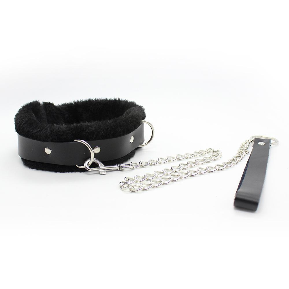 Best Quality Black Bdsm Furry Collar With Chain For Bond
