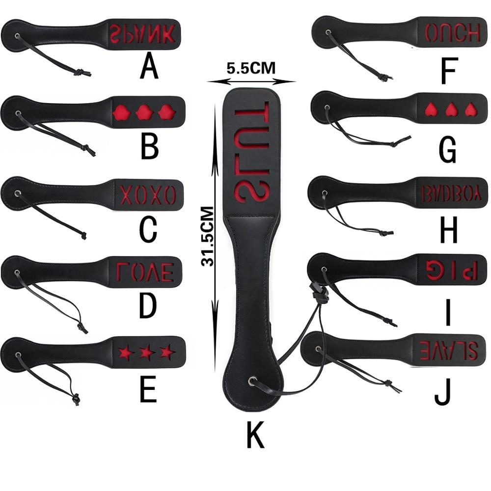 BDSM genuine leather paddle Slave Spanking Paddle with lots of