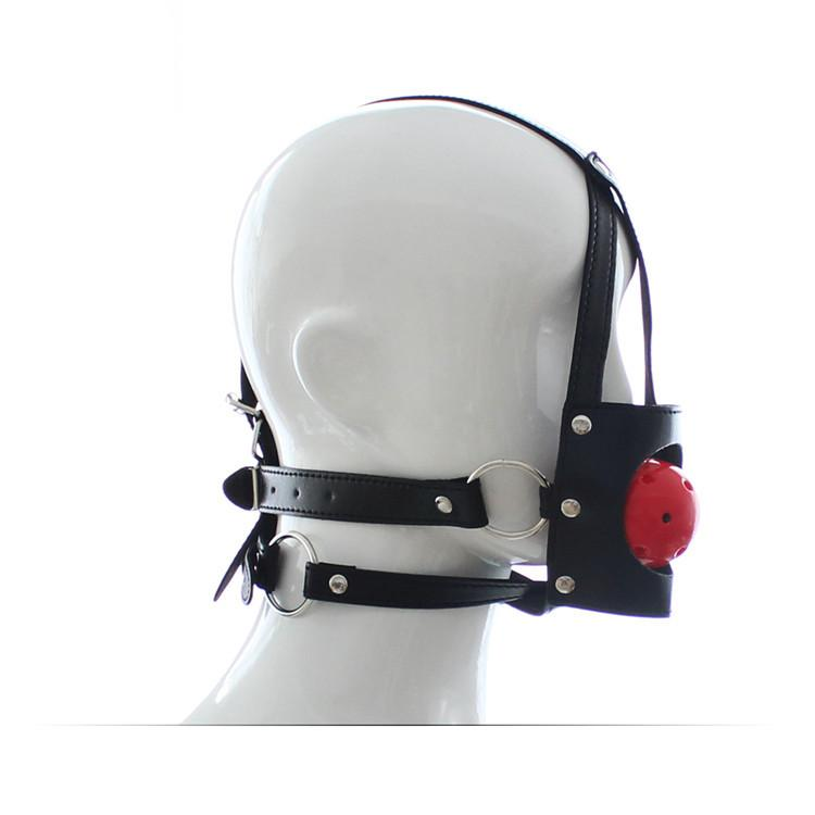 PU Leather Mouth Ball Gag Harness Bondage Mouth Stuffed Gags Ball Lirting Toys For Adult Game Sex Toy