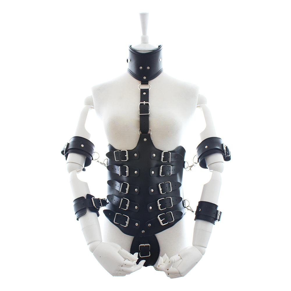 Women Body Harness Leather Restraint Armour SM Clothes with Metal Spreader Handcuffs Erotic Adult