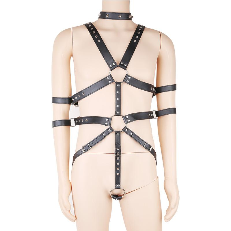 Bondage Restrictions Leather Body Harness Bar Sex Show
