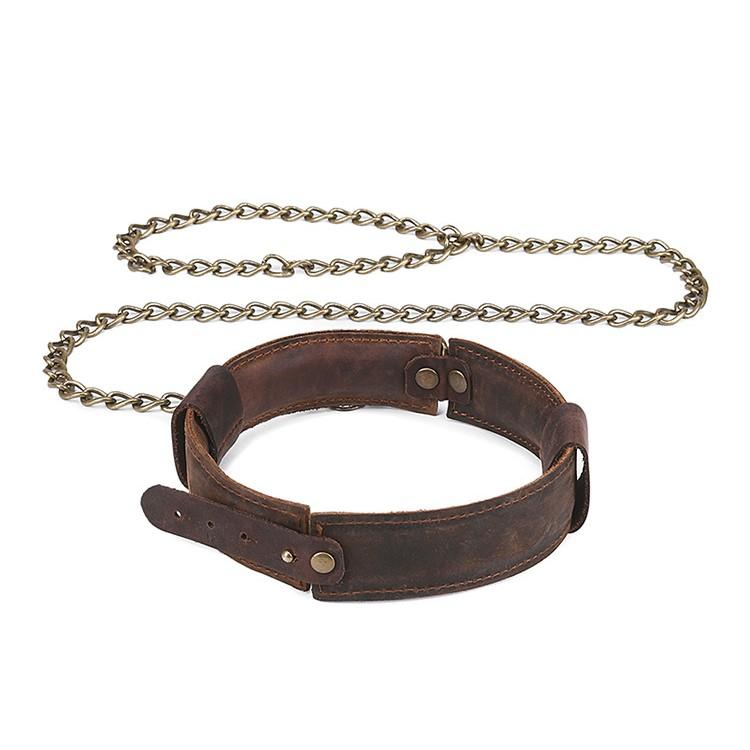 Real Leather Sexy Retro Neck Collar with Metal Pulli