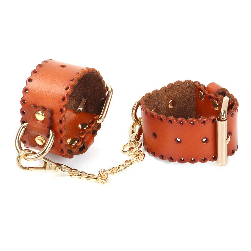 Adult Toys Genuine Leather Handcuffs with Gold Met